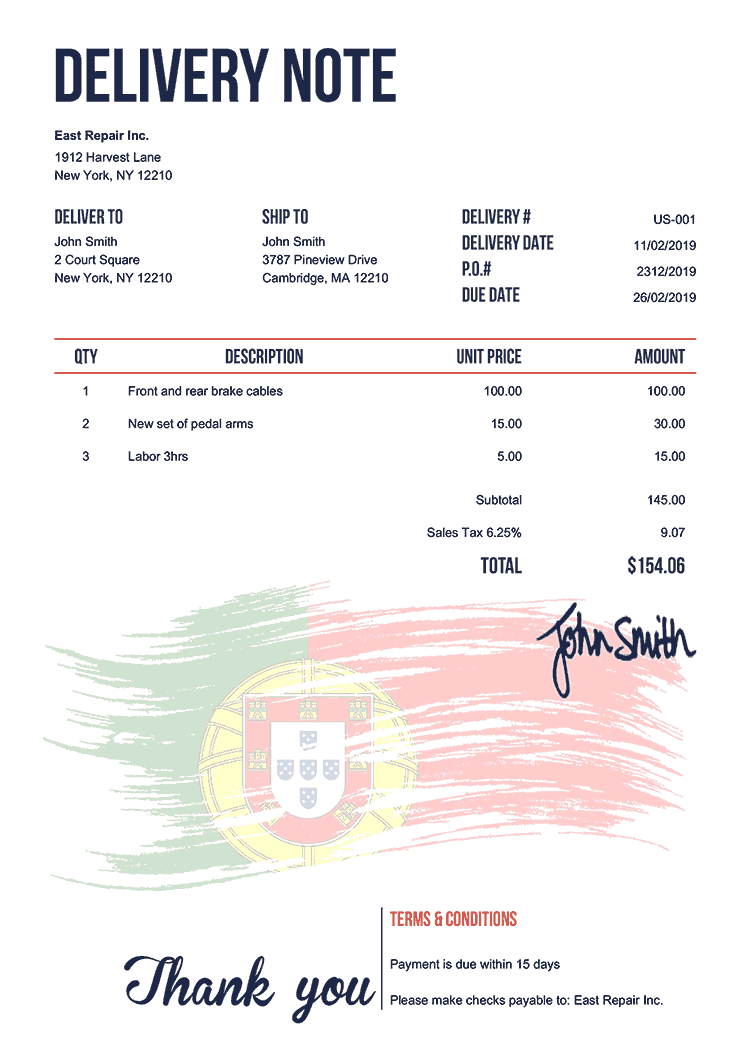 Delivery Note Template Us Flag Of Portugal