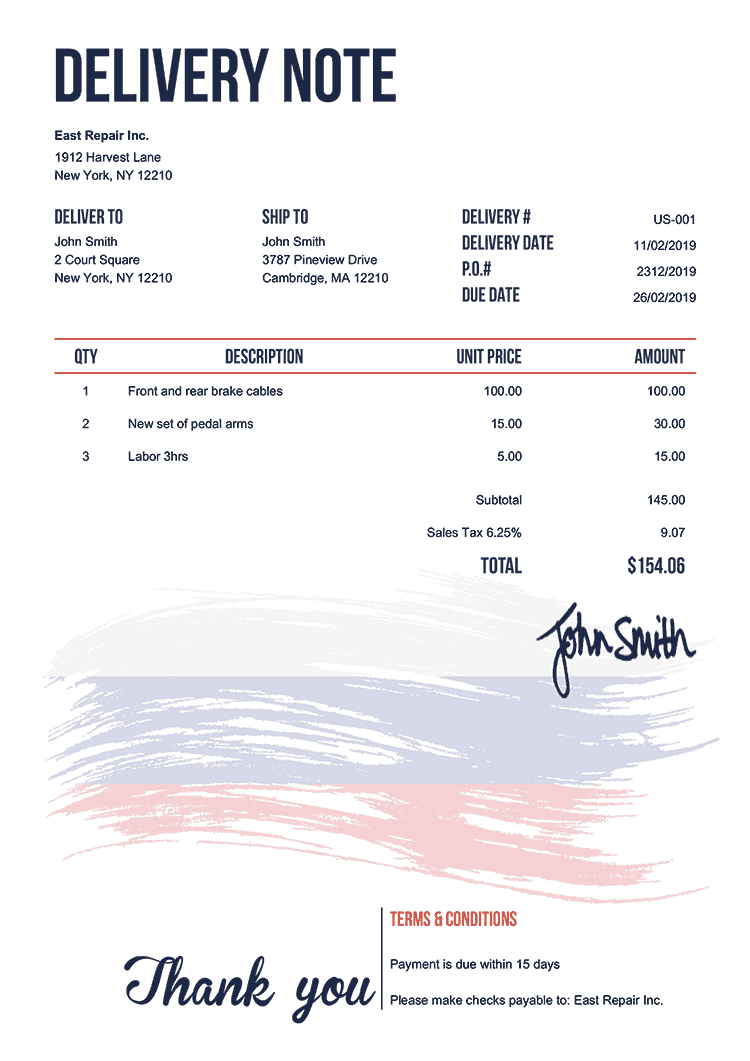 Delivery Note Template Us Flag Of Russia