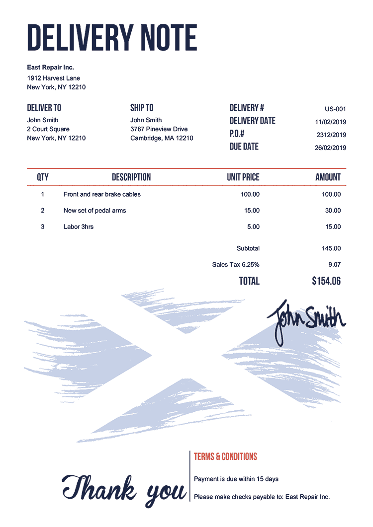 Delivery Note Template Us Flag Of Scotland