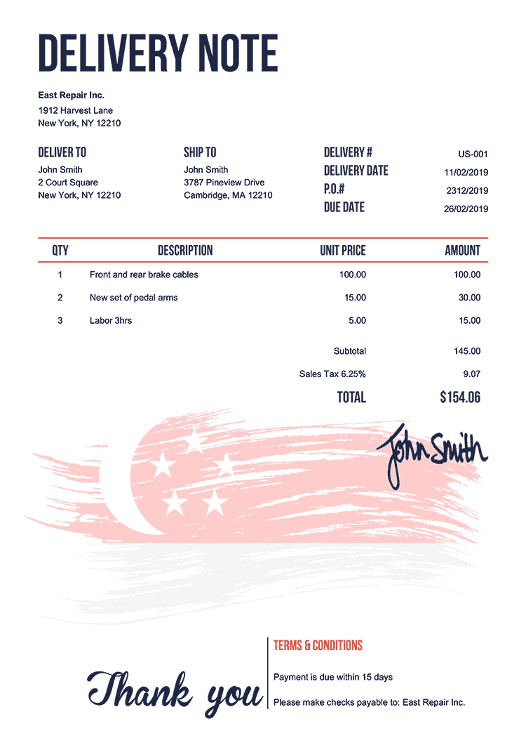 Delivery Note Template Us Flag Of Singapore