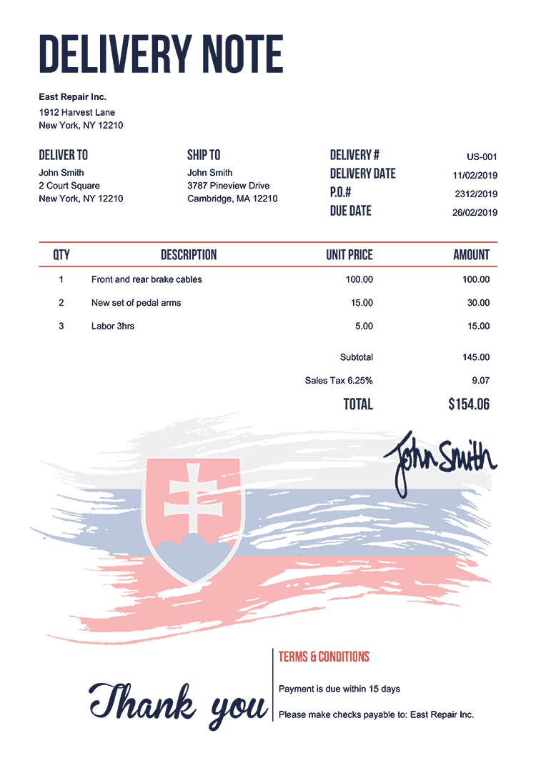 Delivery Note Template Us Flag Of Slovakia