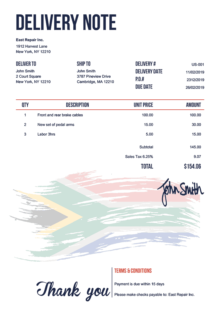 Delivery Note Template Us Flag Of South Africa