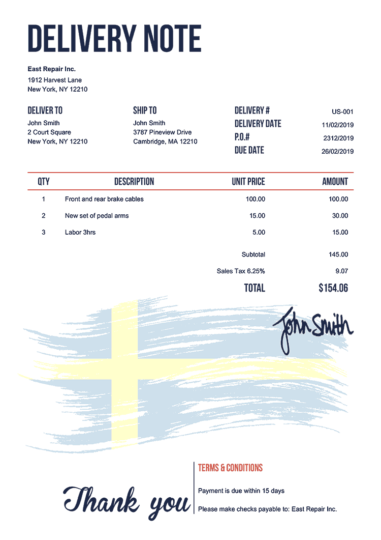 Delivery Note Template Us Flag Of Sweden
