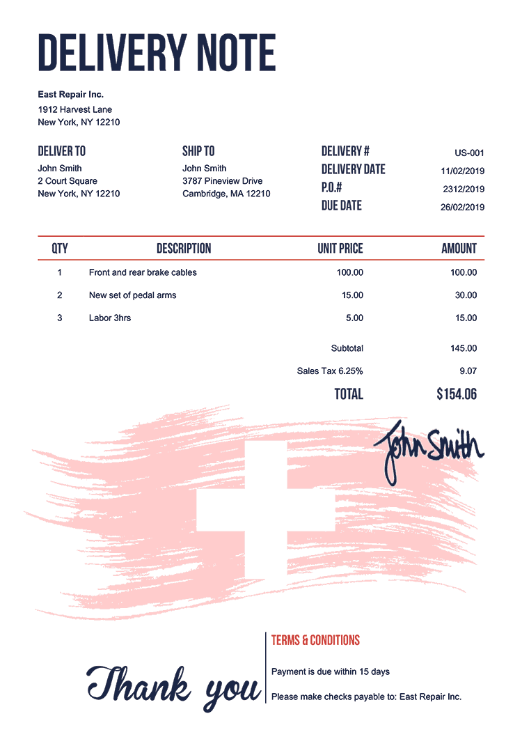 Delivery Note Template Us Flag Of Switzerland