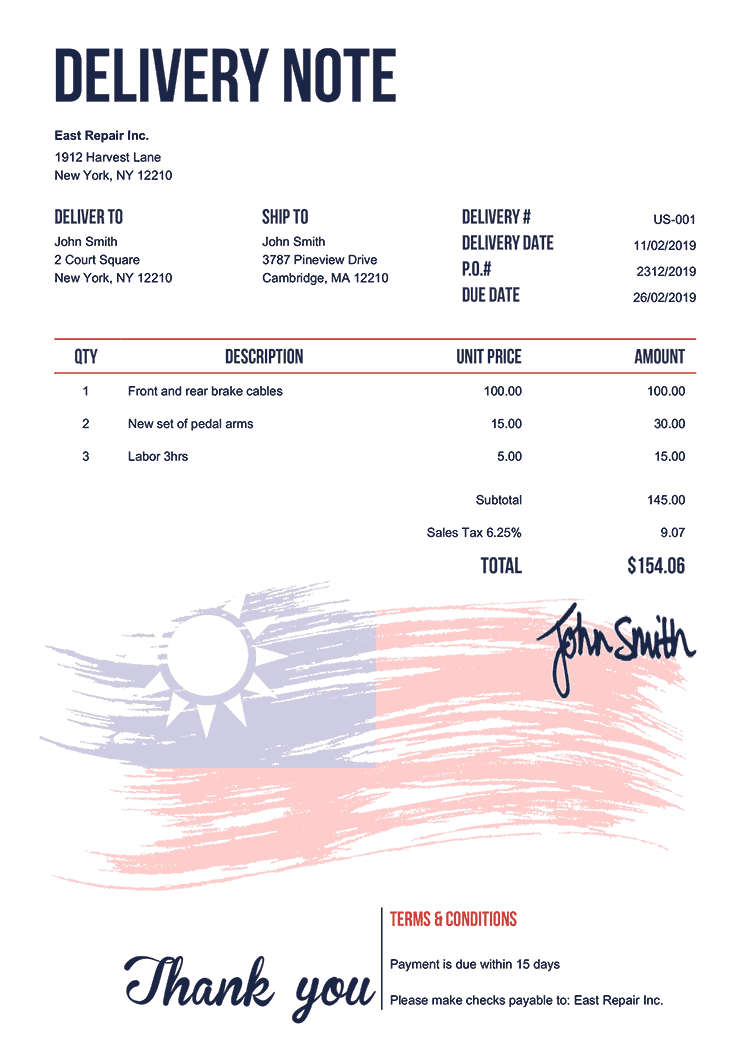 Delivery Note Template Us Flag Of Taiwan