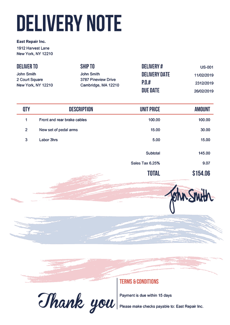 Delivery Note Template Us Flag Of Thailand