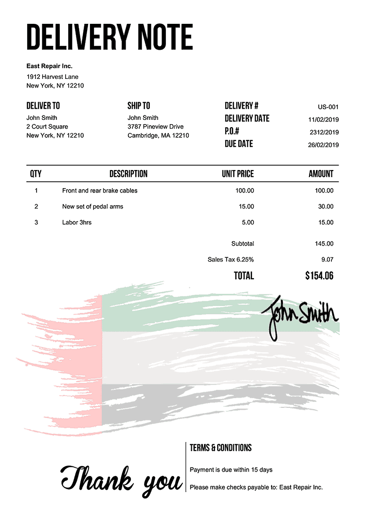 Delivery Note Template Us Flag Of The Uae