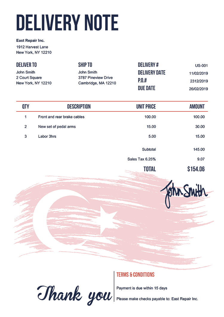 Delivery Note Template Us Flag Of Turkey