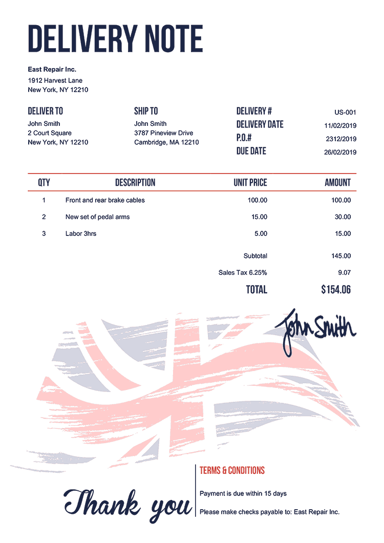 Delivery Note Template Us Flag Of United Kingdom