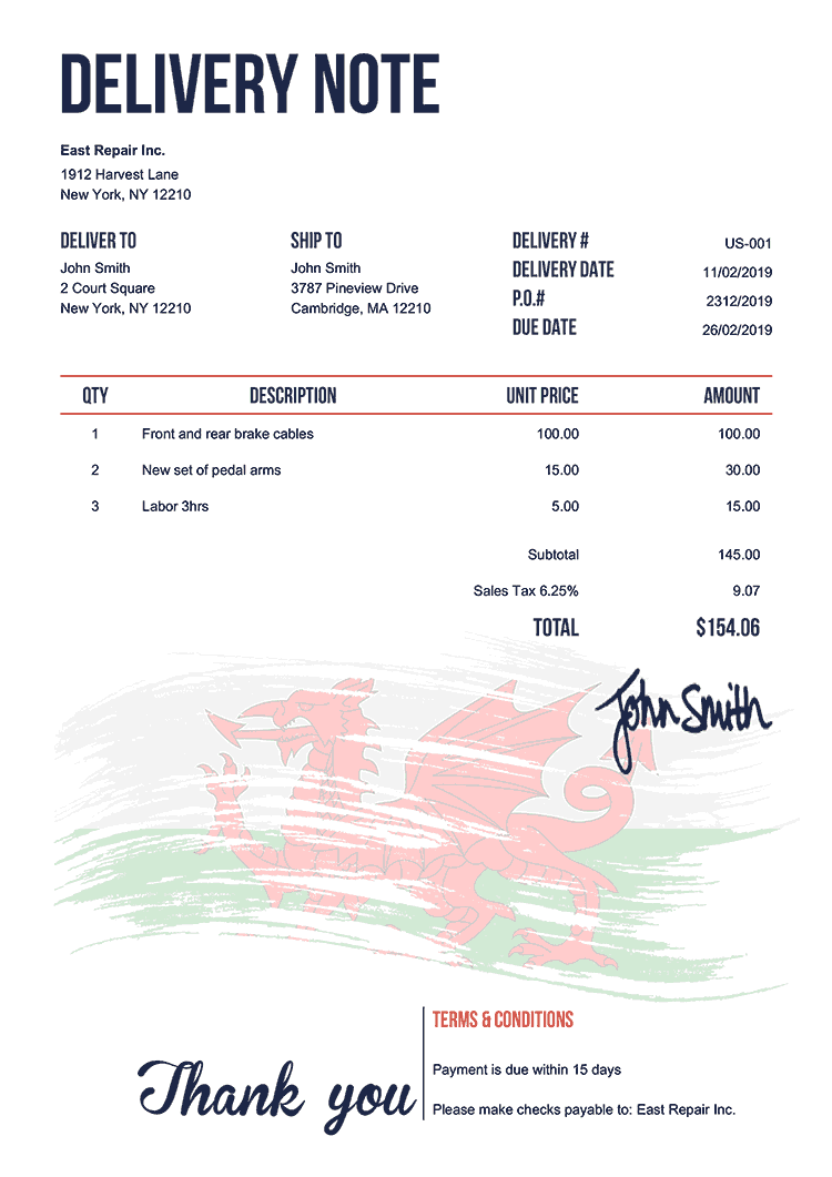 Delivery Note Template Us Flag Of Wales
