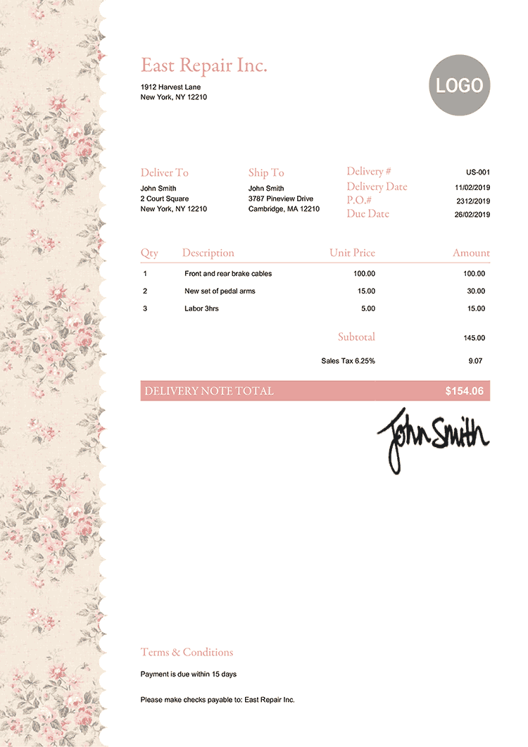 Delivery Note Template Us Flowers