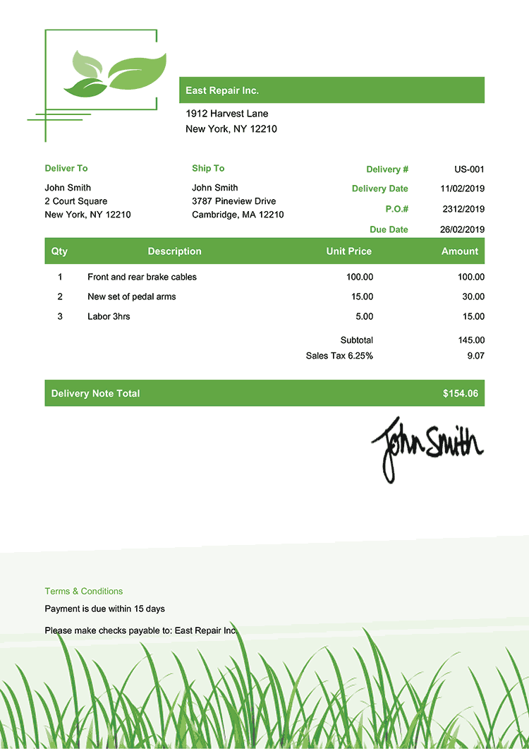 Delivery Note Template Us Green Grass