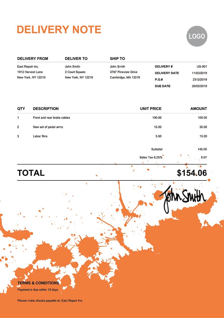 Delivery Note Template Us Ink Blot Orange