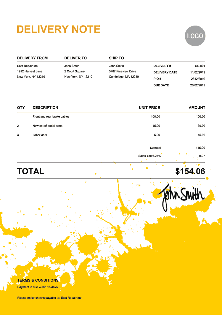 Delivery Note Template Us Ink Blot Yellow