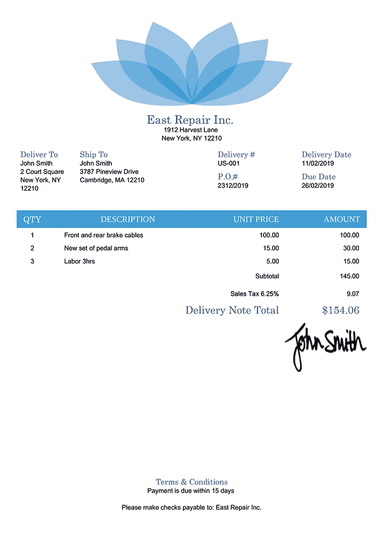 Delivery Note Template Us Lotus Blue