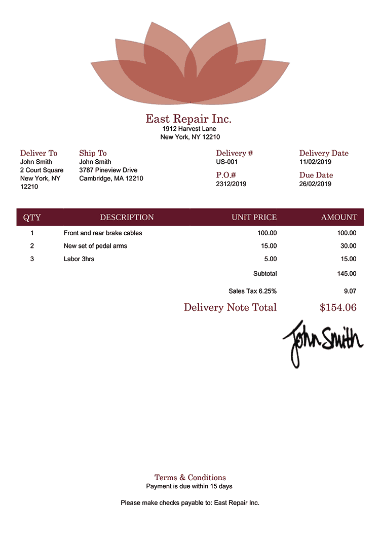 Delivery Note Template Us Lotus Red