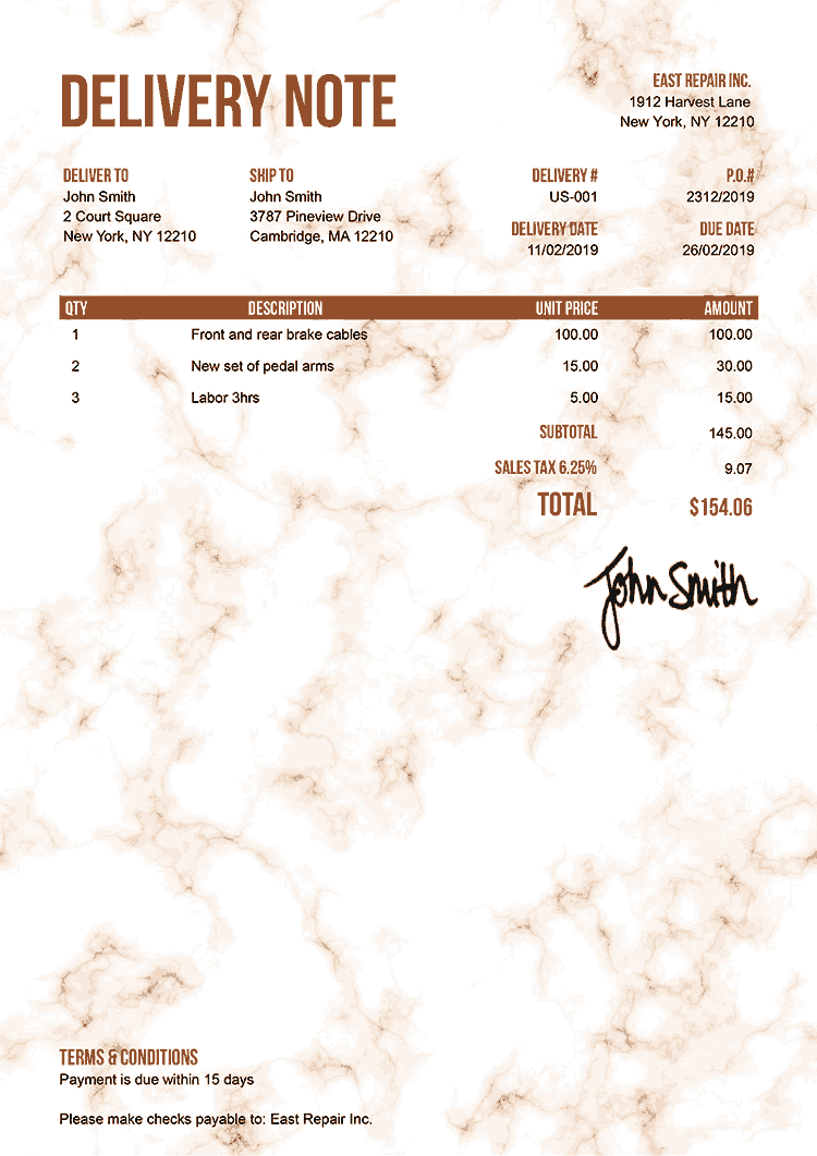 Delivery Note Template Us Marble Orange