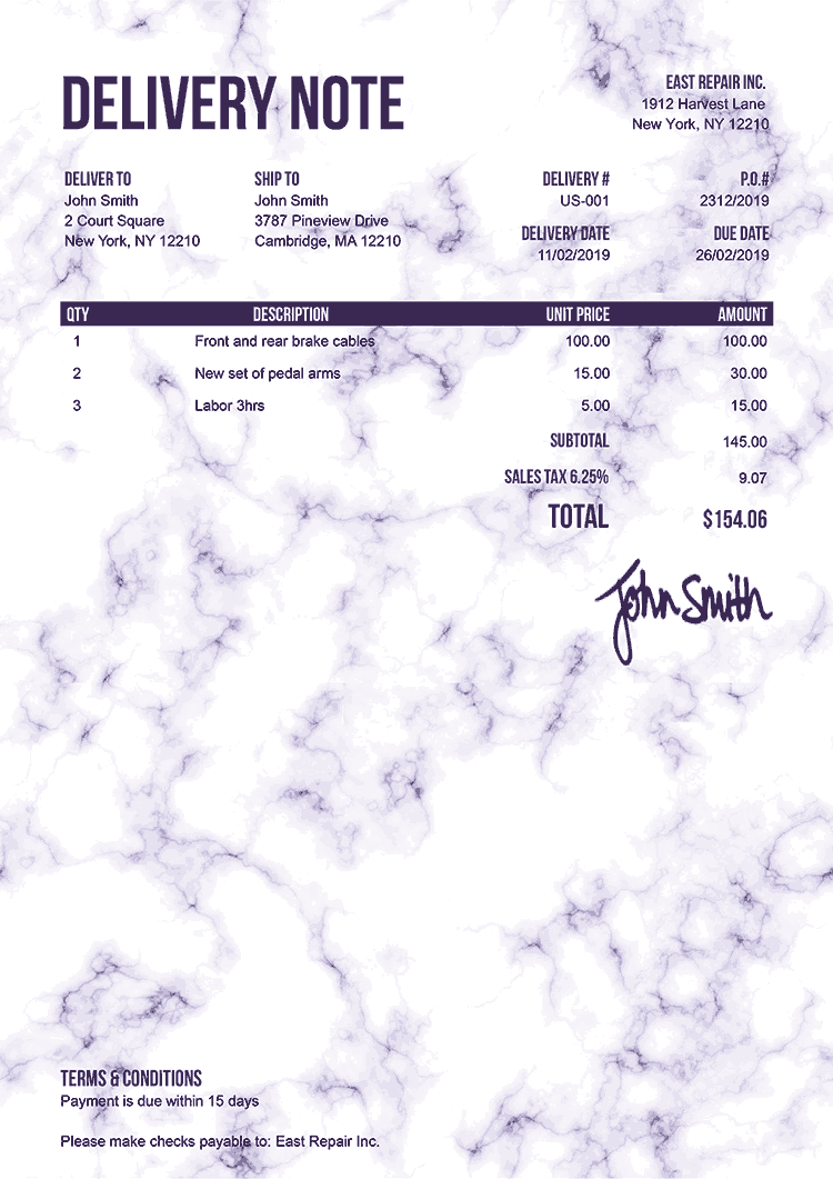 Delivery Note Template Us Marble Purple