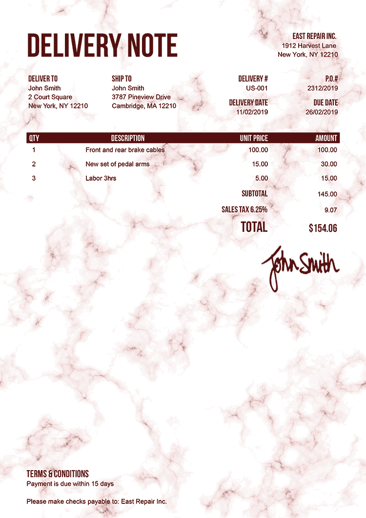 Delivery Note Template Us Marble Red