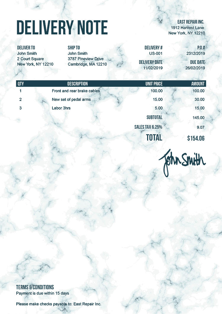 Delivery Note Template Us Marble Teal