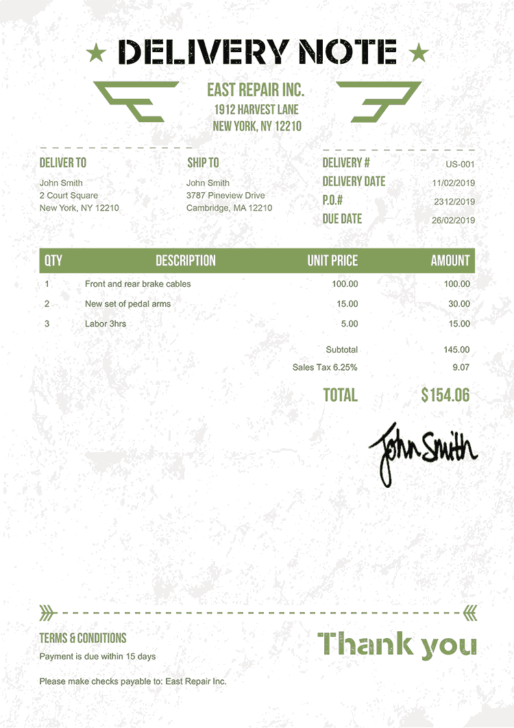 Delivery Note Template Us Military Green