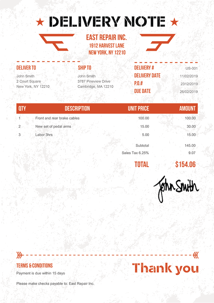 Delivery Note Template Us Military Orange