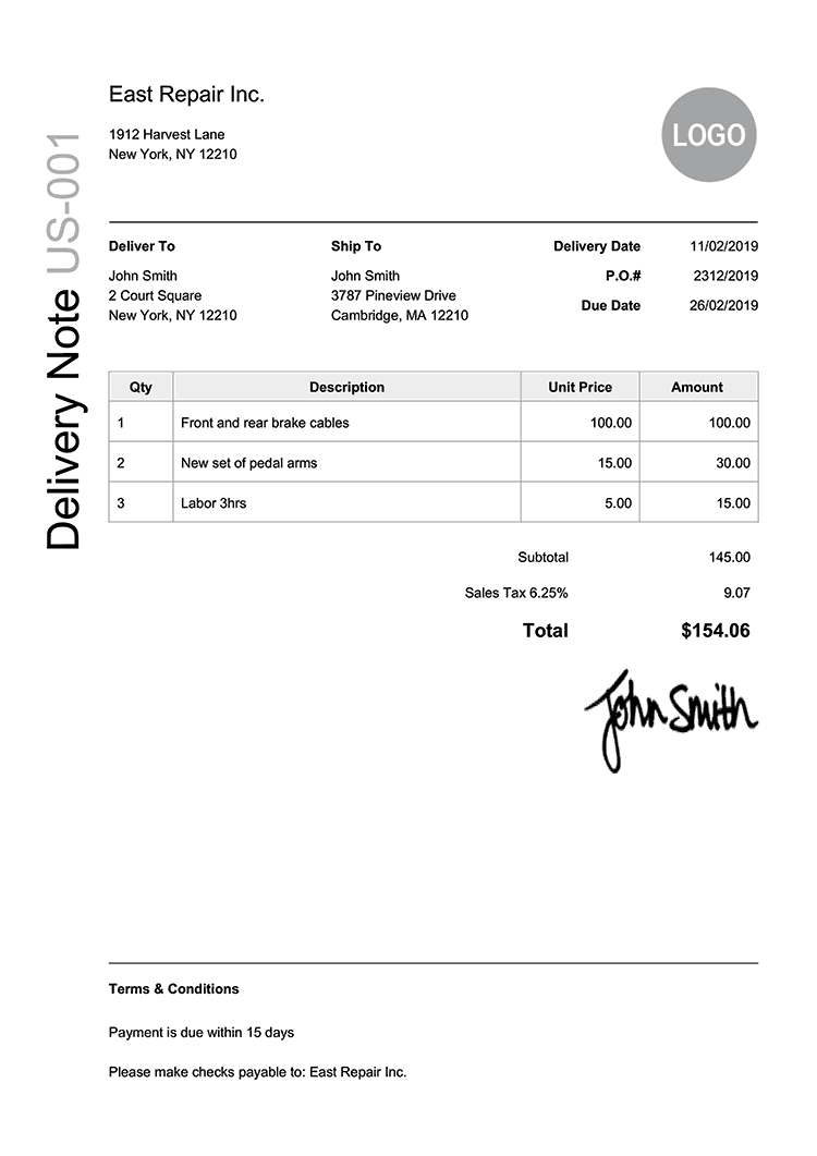 Delivery Note Template Us Modern Black