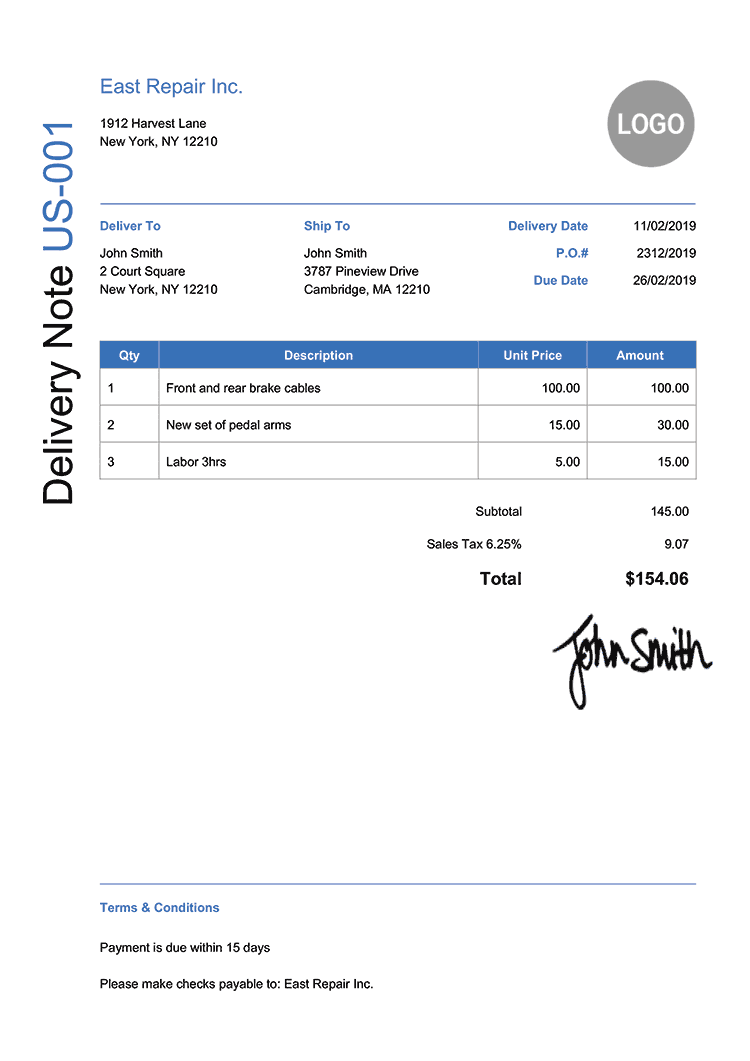 Delivery Note Template Us Modern Blue