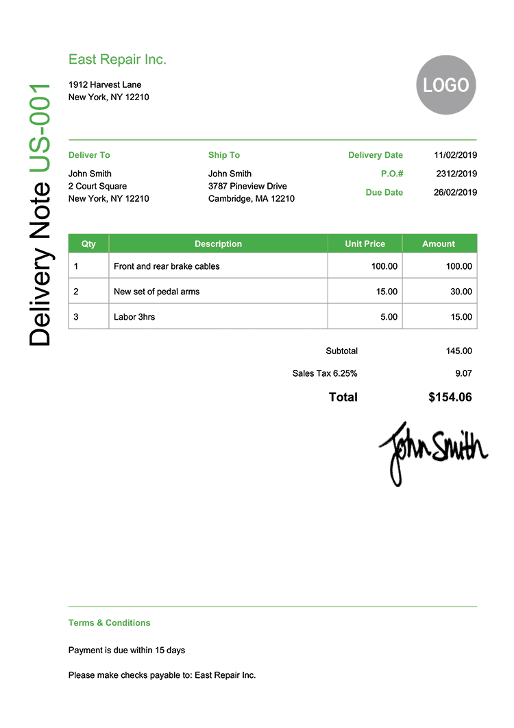 Delivery Note Template Us Modern Green