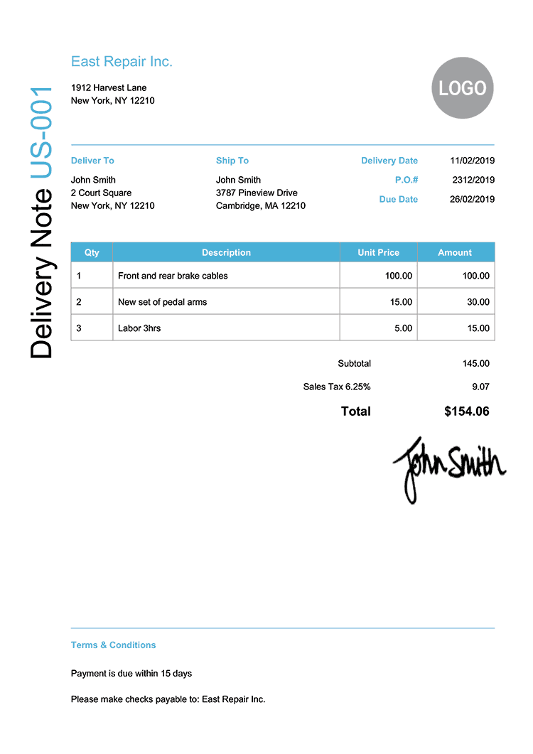 Delivery Note Template Us Modern Light Blue