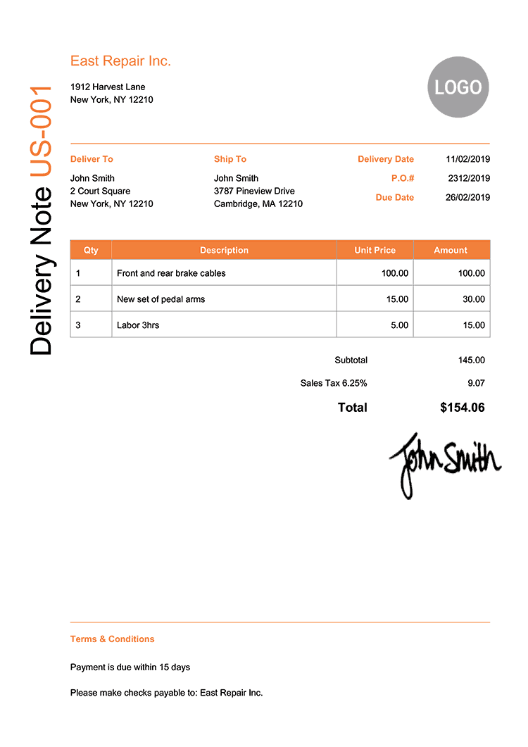 Delivery Note Template Us Modern Orange