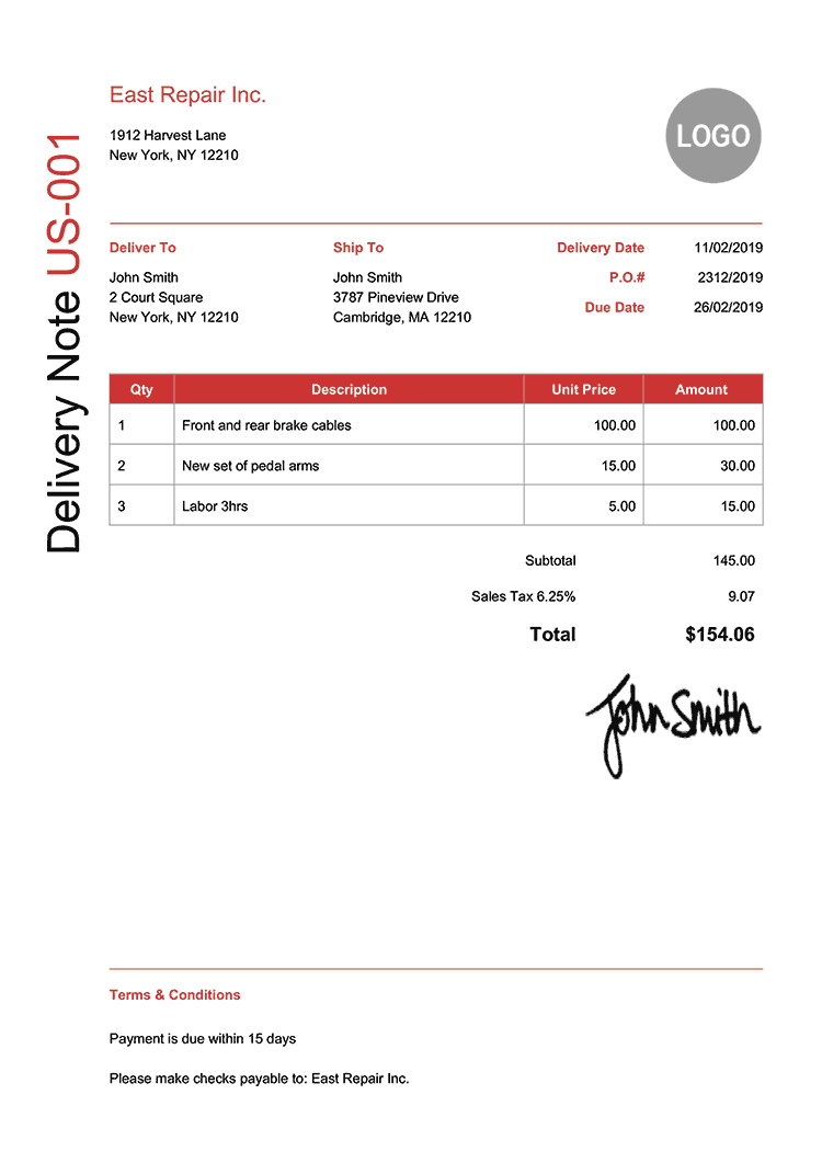 Delivery Note Template Us Modern Red