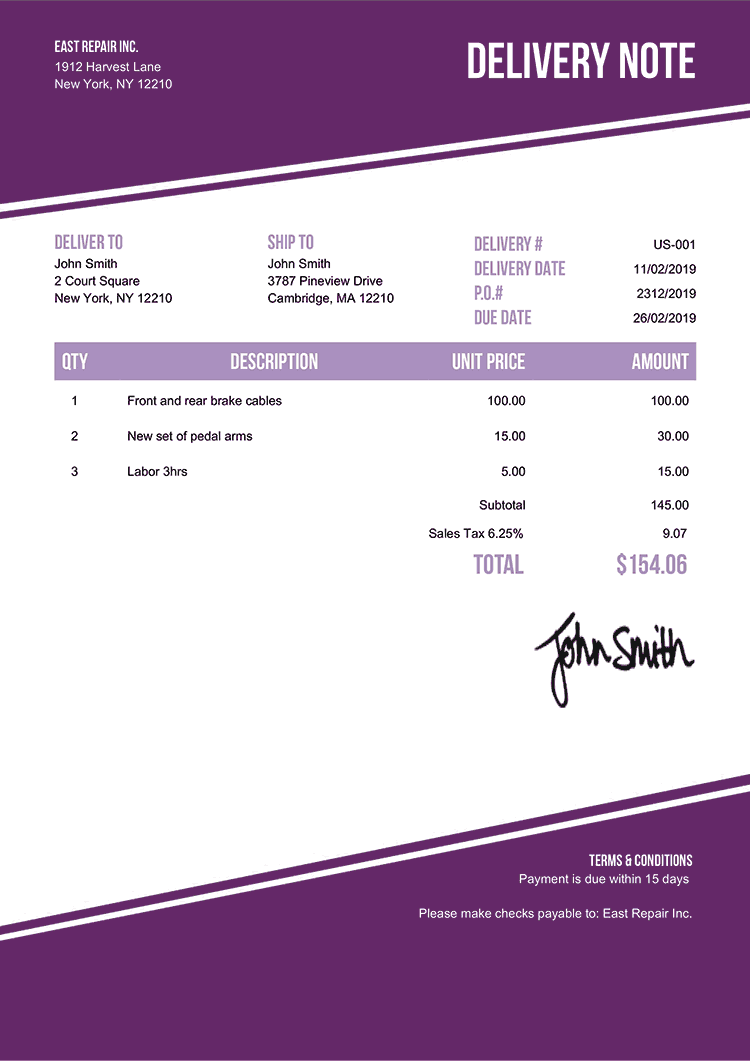 Delivery Note Template Us Modest Purple
