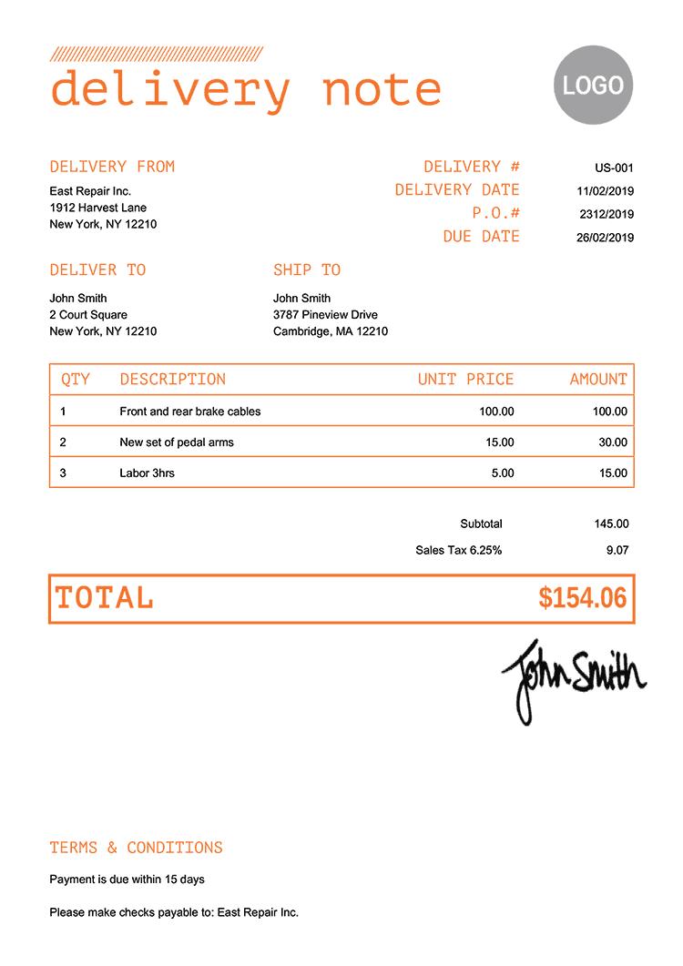 Delivery Note Template Us Mono Orange