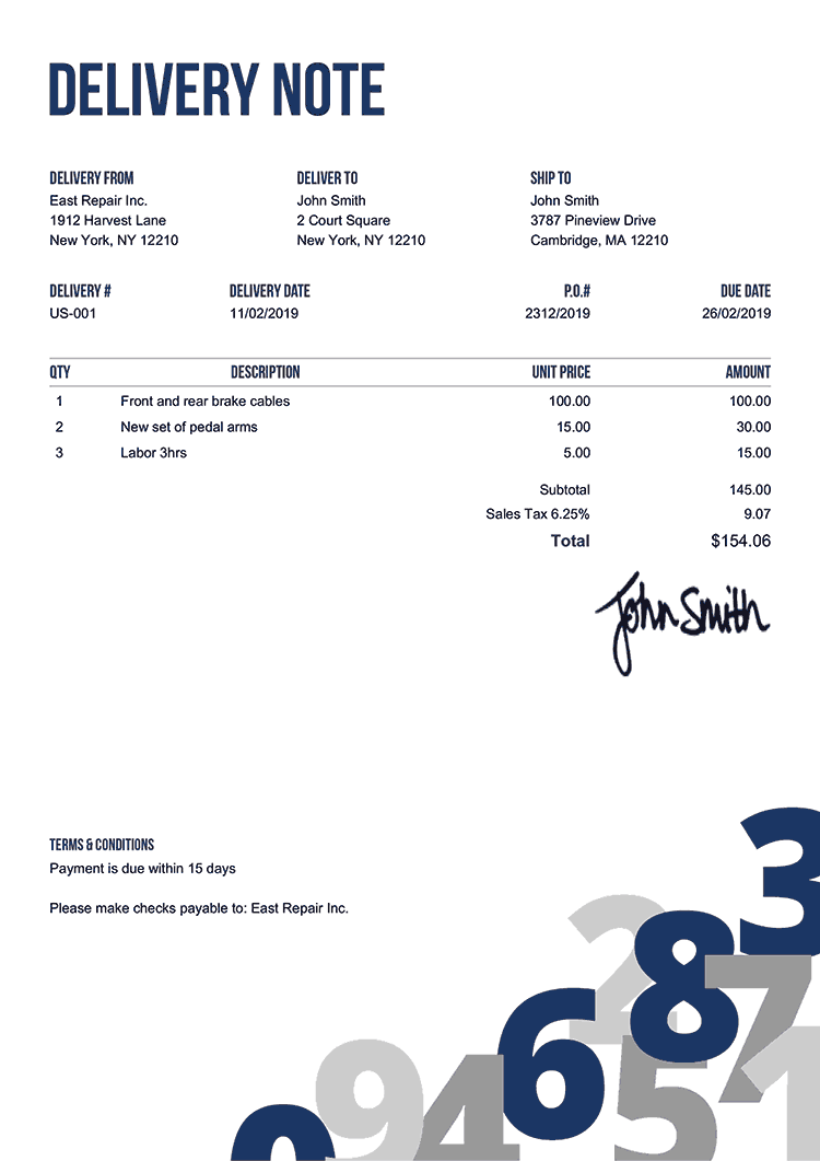 Delivery Note Template Us Numbers Blue