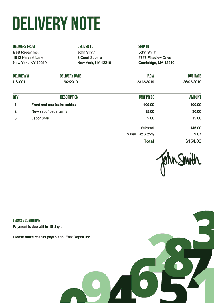 Delivery Note Template Us Numbers Green