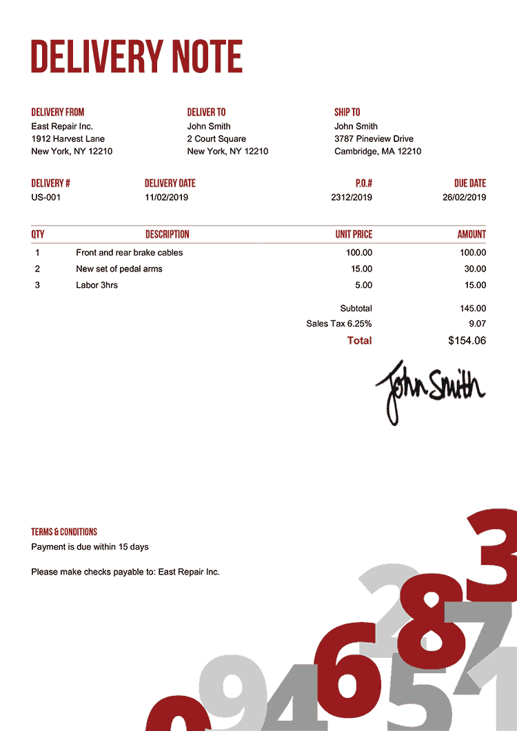 Delivery Note Template Us Numbers Red