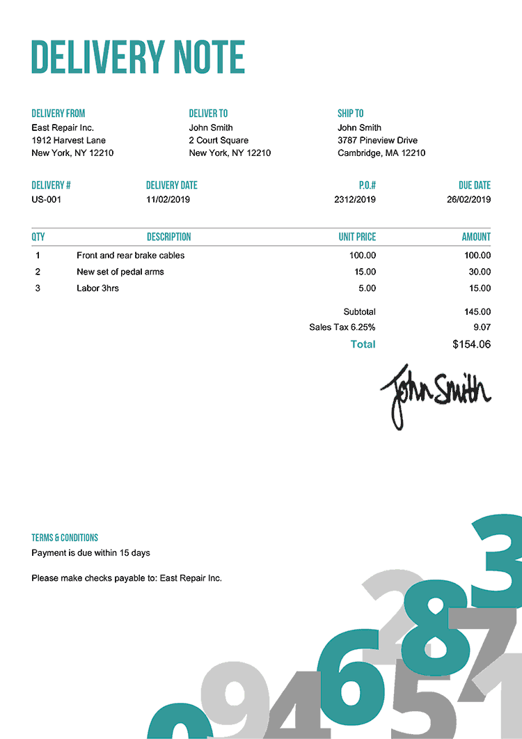 Delivery Note Template Us Numbers Teal