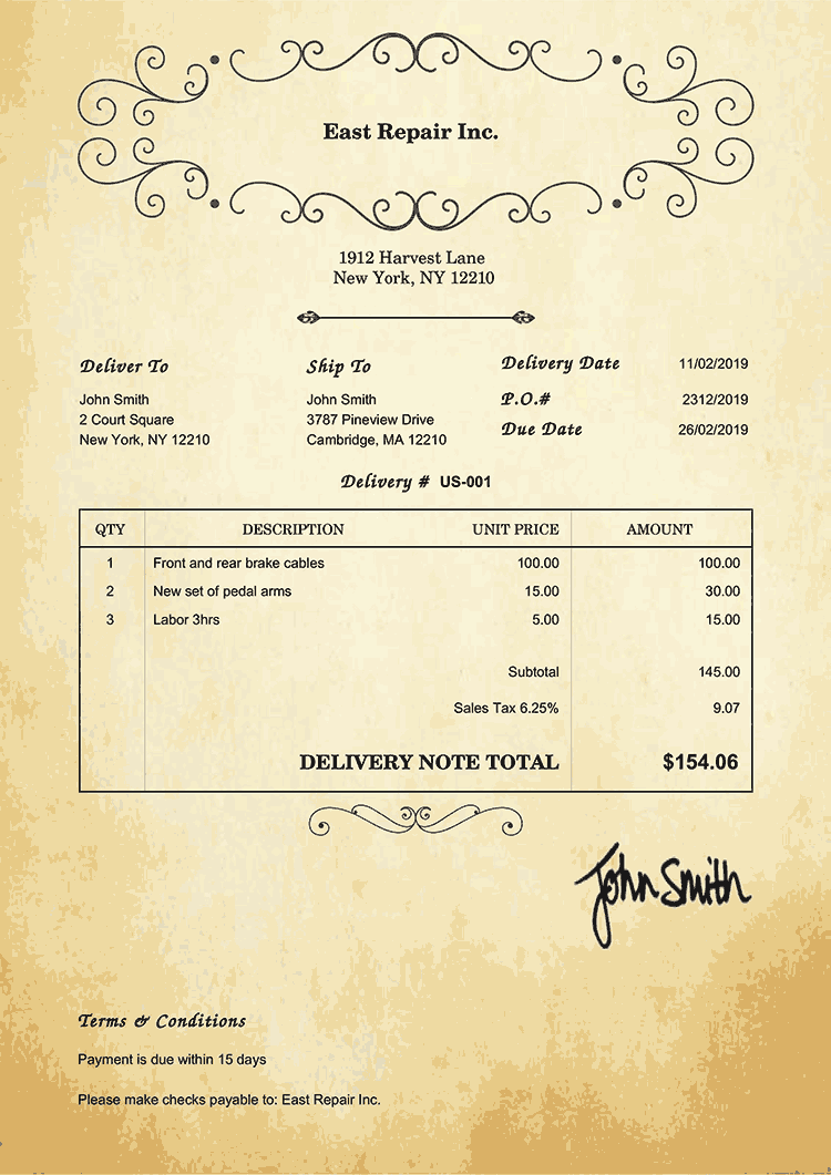 Delivery Note Template Us Oldie