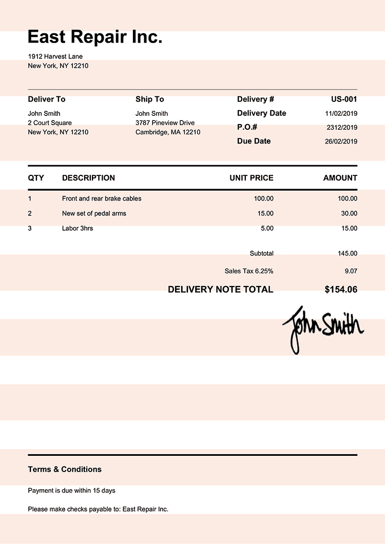 Delivery Note Template Us Pure Orange