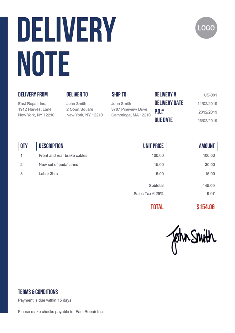 Delivery Note Template Us Slim
