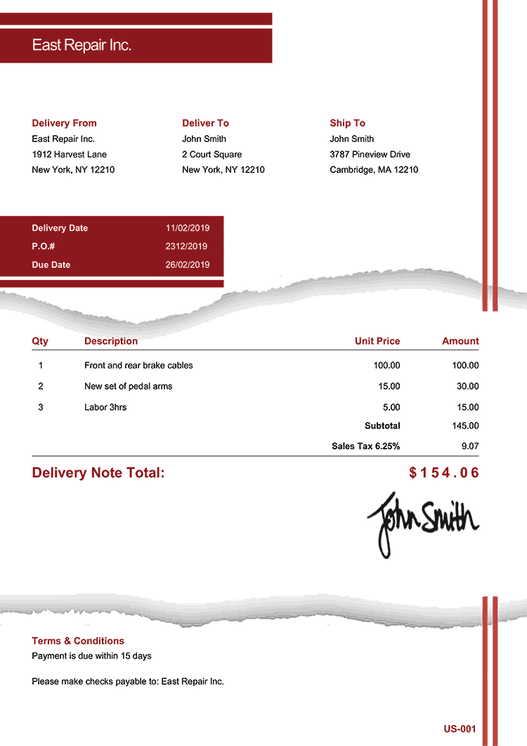 Delivery Note Template Us Torn