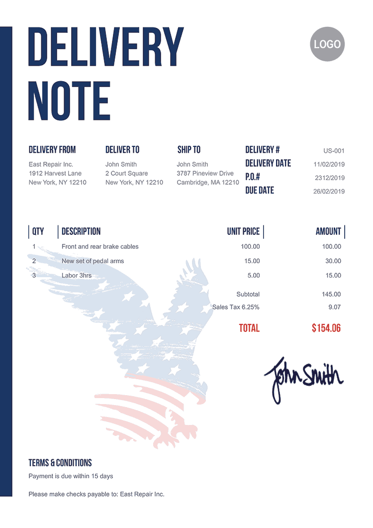 Delivery Note Template Us Us Eagle