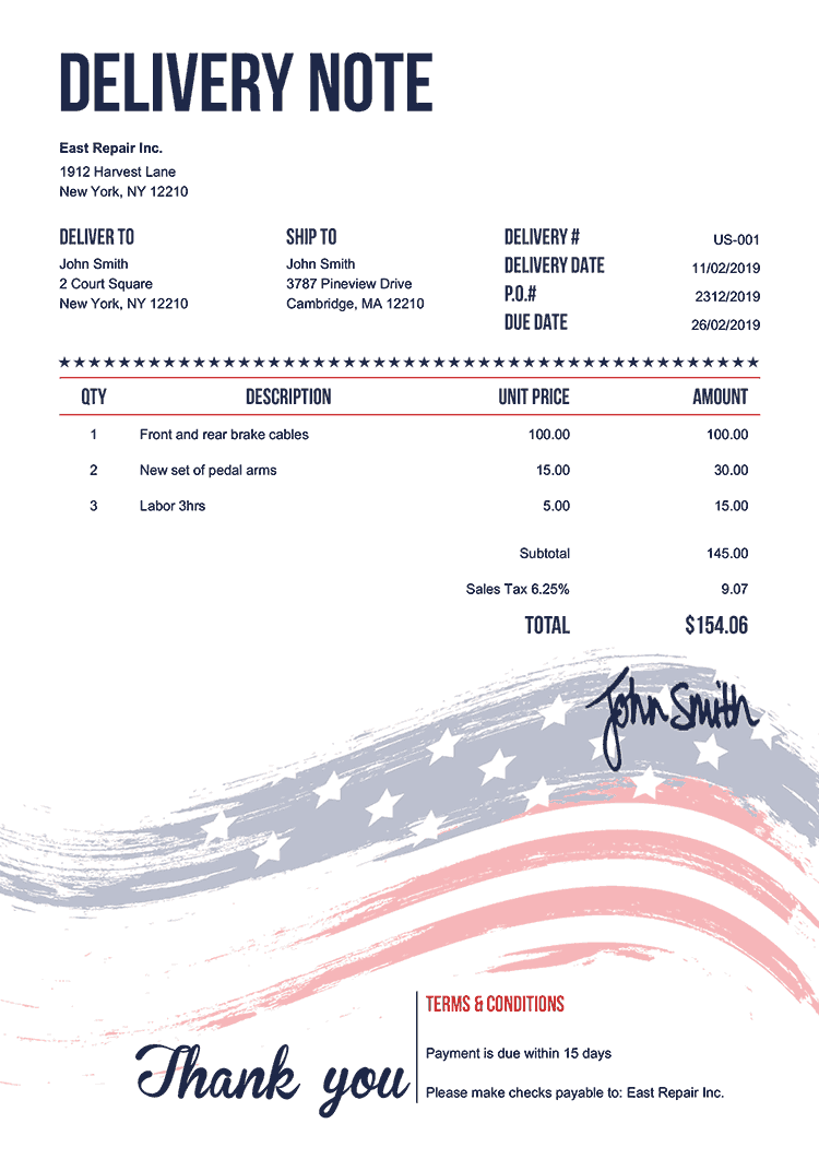 Delivery Note Template Us Us Flag