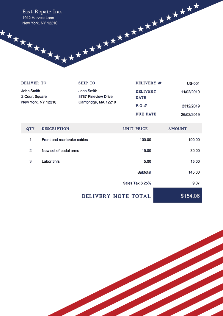Delivery Note Template Us Us Liberty