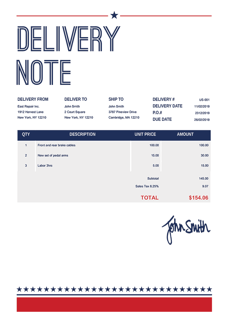 Delivery Note Template Us Us Vegas