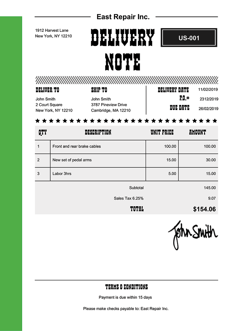 Delivery Note Template Us Western Green