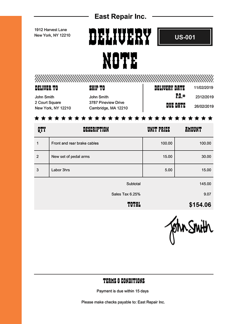 Delivery Note Template Us Western Orange
