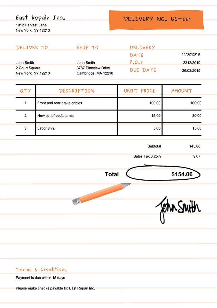 Delivery Note Template Us Workbook Orange