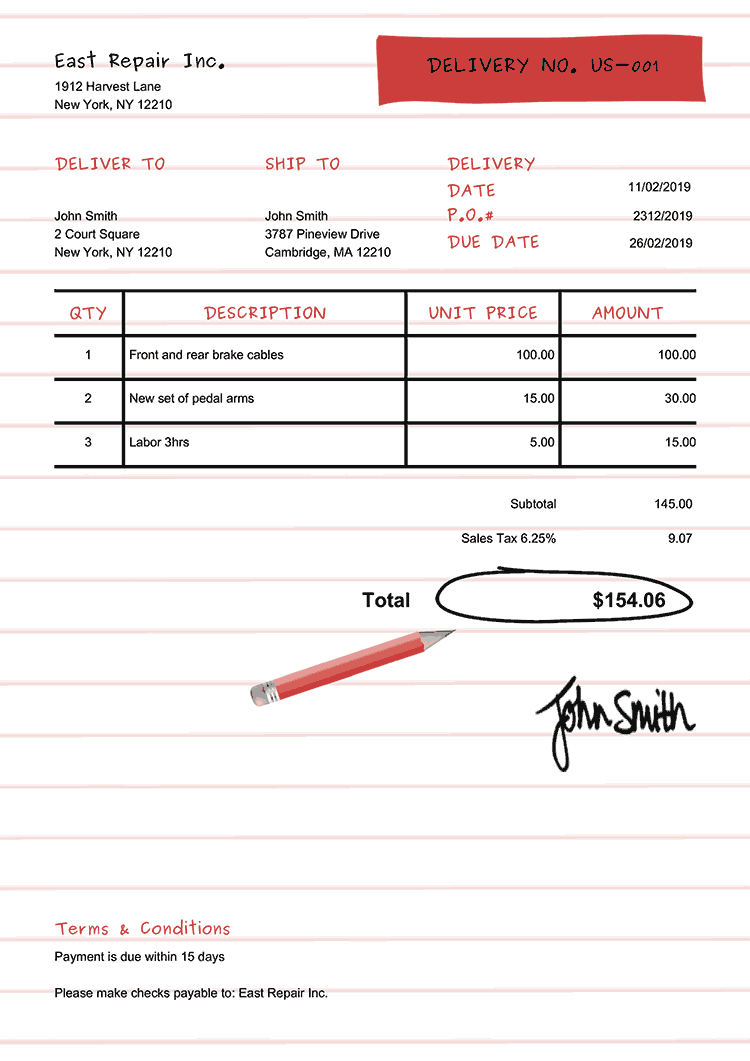 Delivery Note Template Us Workbook Red